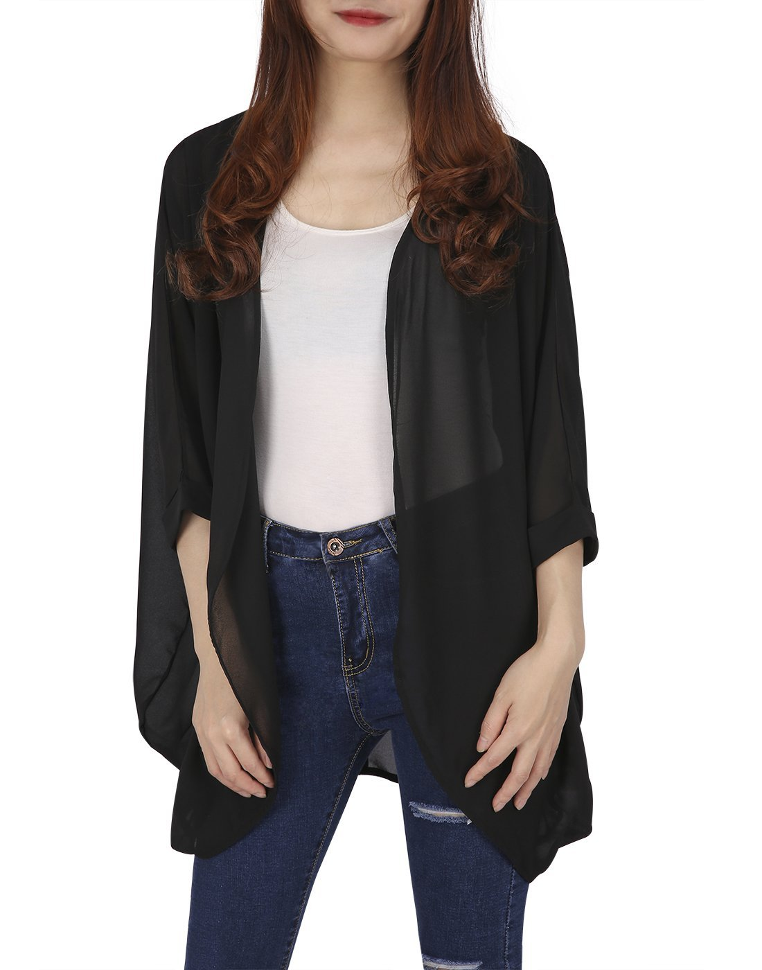 HDE Womens Sheer Chiffon Cardigan Loose Summer Cover up Kimono Boho Half Sleeves (Black, X-Large)