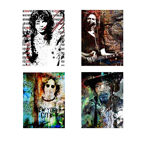 Ready2HangArt Rock Stars 4 Piece Modern Contemporary Canvas Wall Art Print, Panel: 18