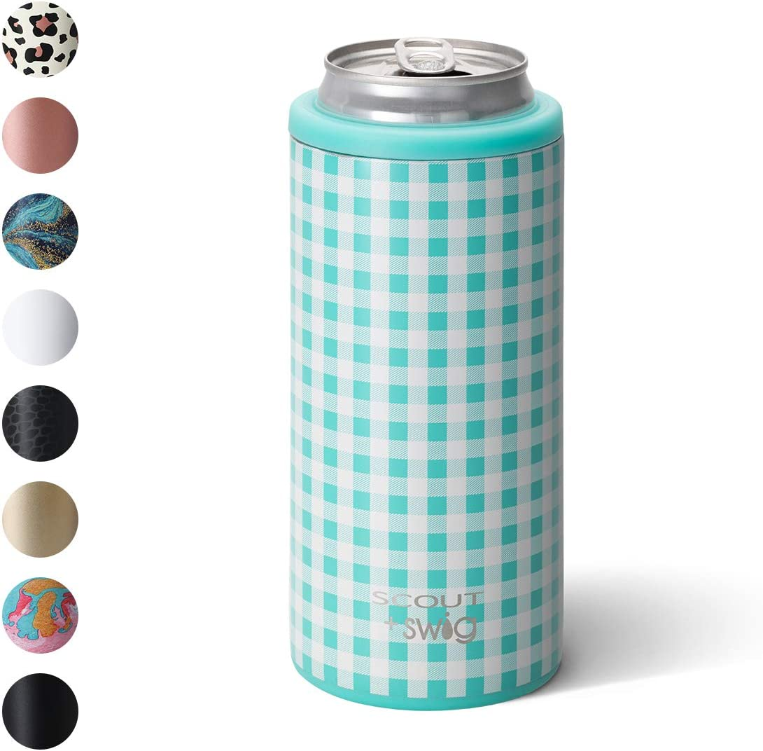 Swig Life 12oz Triple Insulated Skinny Can Cooler, Dishwasher Safe, Double Walled, Stainless Steel Slim Can Coozie for Tall Skinny Cans in SCOUT Barnaby Checkham Print (Multiple Patterns Available)