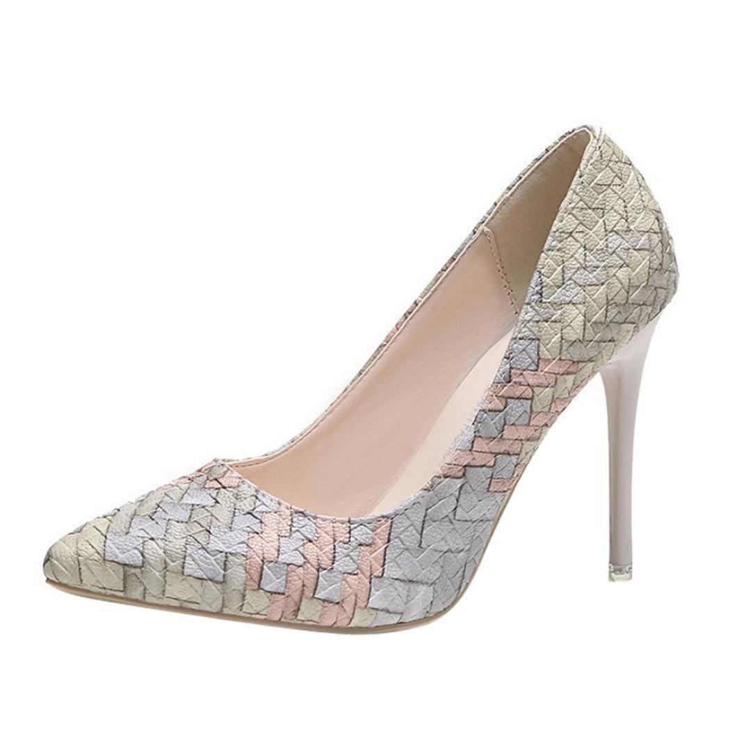 Tacones de mujer Covermason Moda tacones finos Zapatos colores mezclados Tacones bajos Zapatos(38 EU, Beige): Amazon.es: Ropa y accesorios