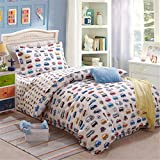 3 Pieces Steady Stream Kids Trains Planes Trucks Duvet Cover Sets Fit Twin Full Review