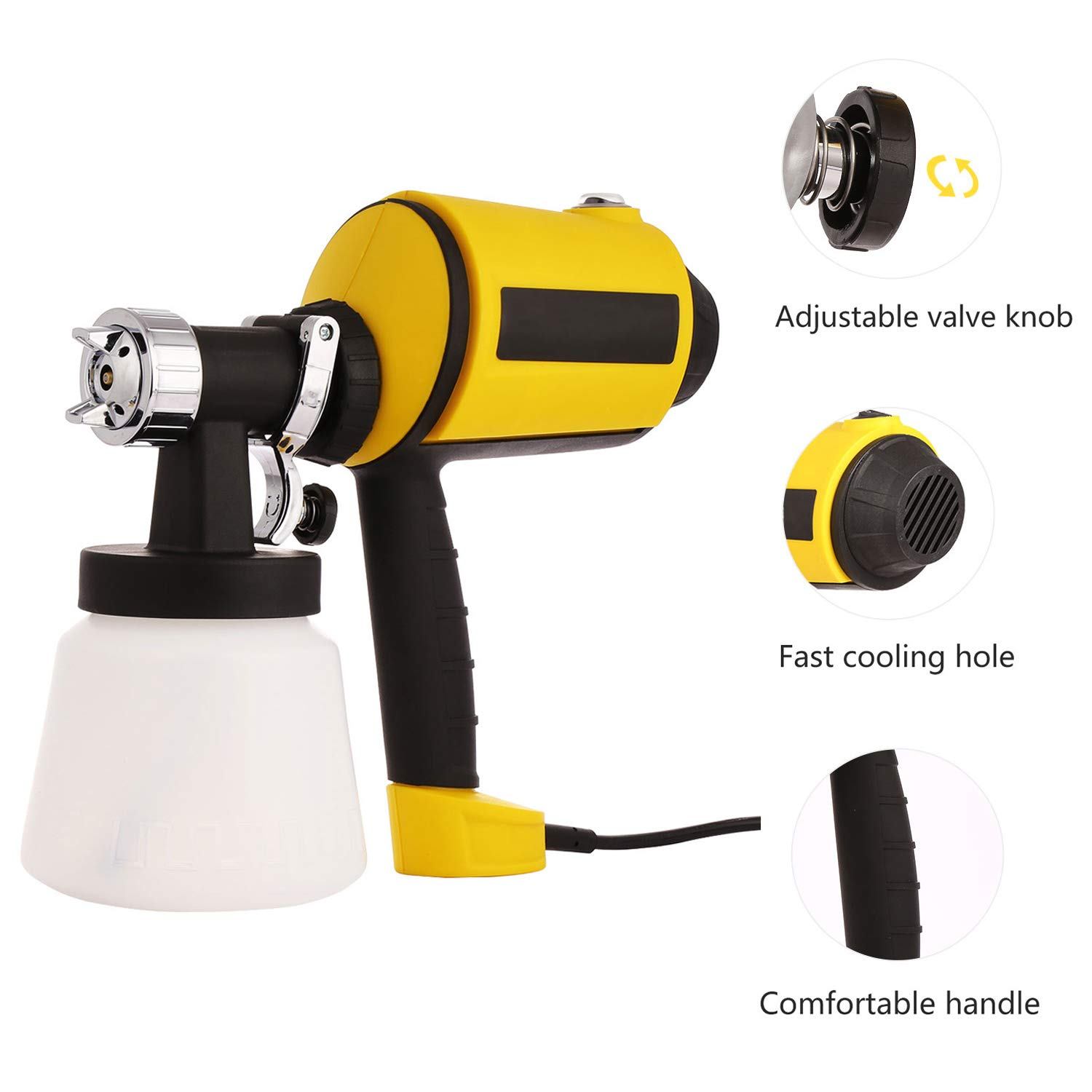 Electric HVLP Paint Spray Gun with Three Spray Patterns, Three Nozzle Sizes, Adjustable Valve Knob - 800ml Detachable Container and 2m Power Line (US Stock)