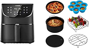 COSORI Air Fryer(100 Free Recipes Book), 1500-Watt Programmable Base for Air Frying, Roasting & Keep Warm, 3.7QT & Air Fryer Accessories XL (C158-6AC), Set of 6 Fit all 5.8Qt, 6Qt Air Fryer