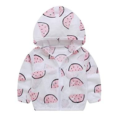 e47be8c7b ... Cotton Sun Protection Hoodies Outerwear Baby Little Girls Boys Toddler  Summer Sunscreen Jackets Fruit Print Coats: Amazon.co.uk: Clothing