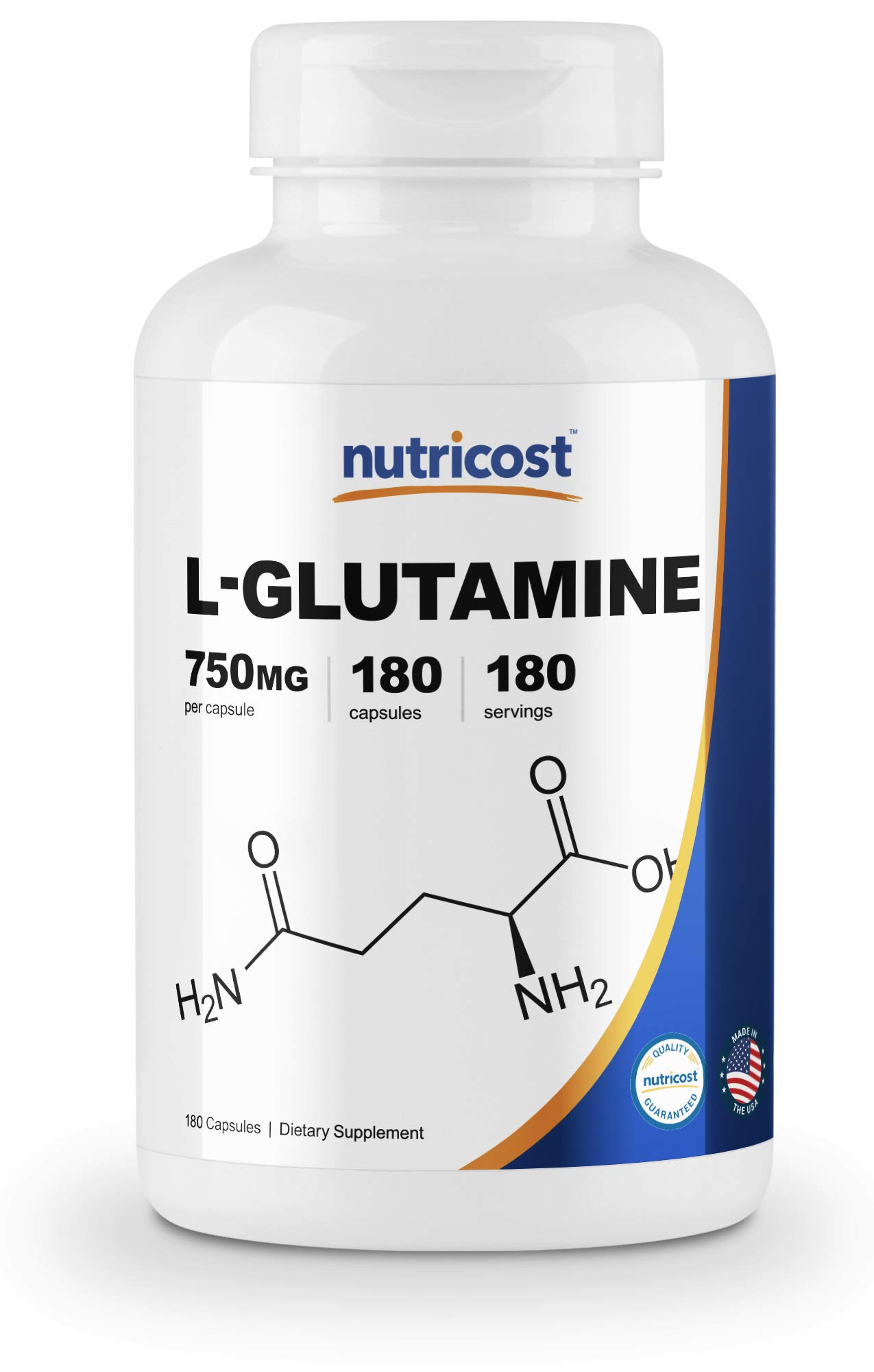 Nutricost L-Glutamine 750mg; 180 Capsules by Nutricost
