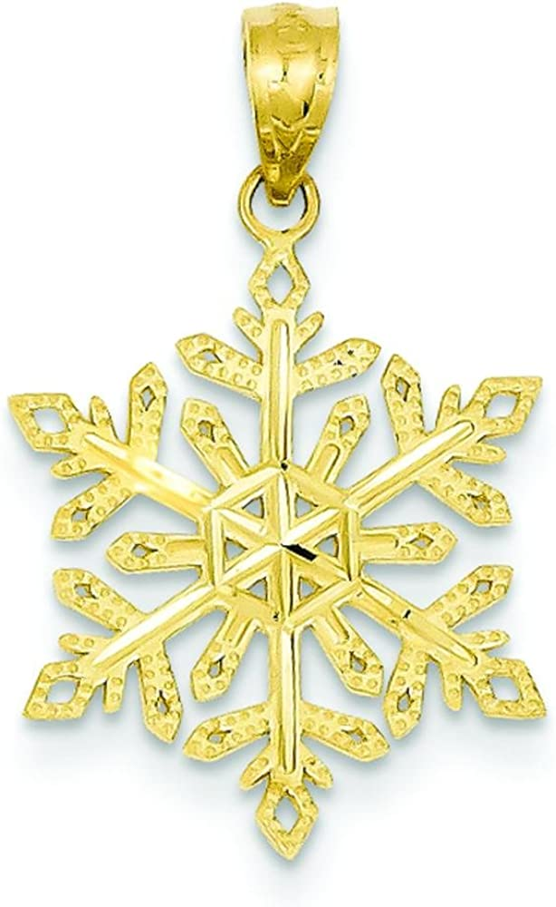 1 CT Diamond Dainty Snowflake Necklace Winter Sonata Charm 14K Yellow Gold Over