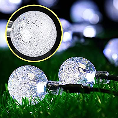 Accmor Outdoor Solar LED String Lights - 31ft 50 LED Globe Fairy Lights, Super-Bright Waterproof Crystal Ball Lighting Decorations for Christmas Trees, Patio, Yard, Garden, Wedding, Party (Warm White)