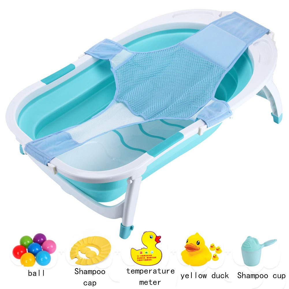 Portable Infant Bath Tub, Foldable Non Slip Safe Sturdy Non Toxic Portable Features Send The Ball Shampoo Cap Temperature Card Yellow Shampoo Cup,Green by YQZ