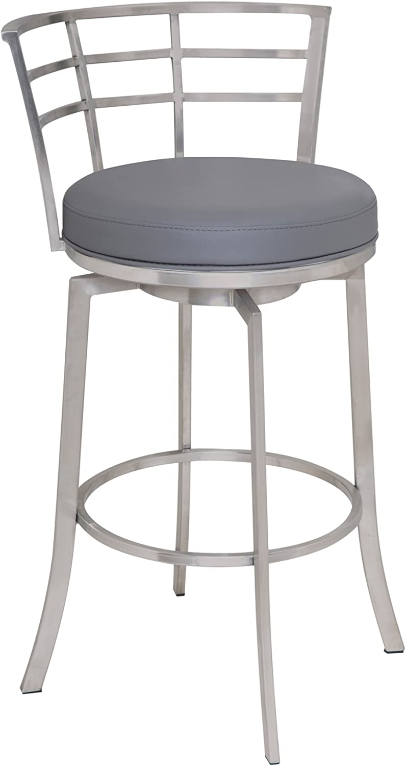 Amazon Com Armen Living Viper 26 Counter Height Swivel Barstool In Grey Faux Leather And Brushed Stainless Steel Finish Furniture Decor