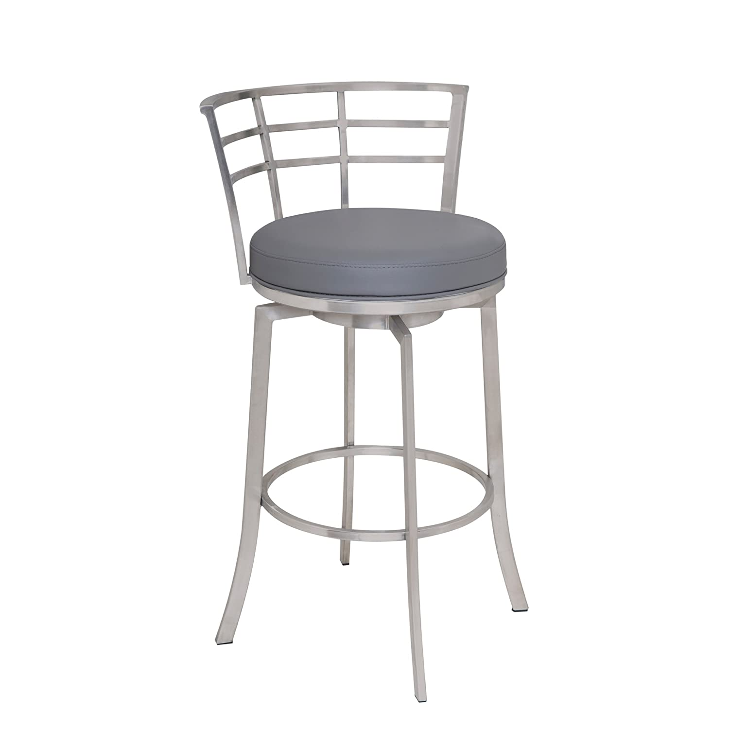 Armen Living LCVI26BAGR Viper 26 Counter Height Swivel Barstool in Grey Faux Leather and Brushed Stainless Steel Finish
