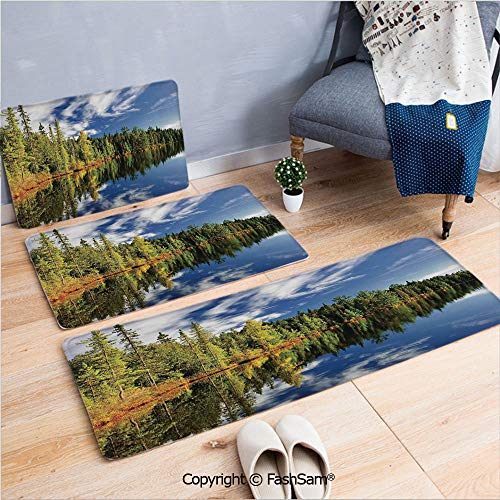 FashSam 3 Piece Flannel Bath Carpet Non Slip Elegant Forest Reflecting on Calm Lake Shore at North Canada Universe Art Print Front Door Mats Rugs for Home(W15.7xL23.6 by W19.6xL31.5 by W17.7xL53)