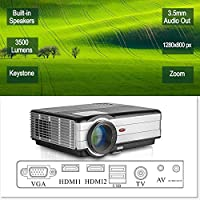 Dual HDMI Projector HD Home Theater with Built-in Speakers Zoom Keystone,3500 Lumen WXGA LCD LED Video Movie Gaming Projectors Support 1080P HDMI USB VGA Laptop PC Phones DVD PS4 Outdoor Indoor