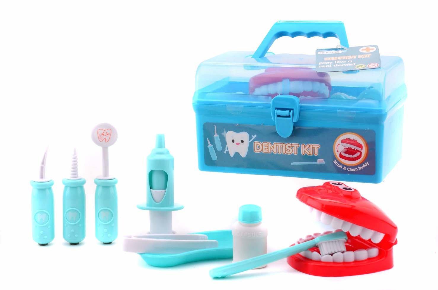 JohnToy Zahnarzt-Koffer für Kinder Spielset 10-teilig