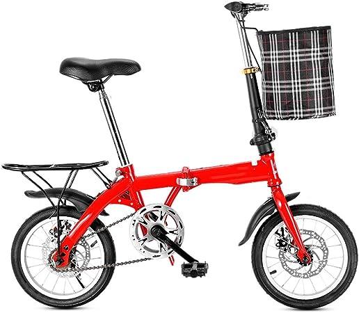 XYSQ Marco De Aluminio Ligero De 28 Libras Bicicleta Plegable 14/16/20-pulgadas, Los Estantes De Las Mujeres De Peso Ligero De La Bici con Armado Y La Cesta del Almacenaje Grande: Amazon.es: Hogar