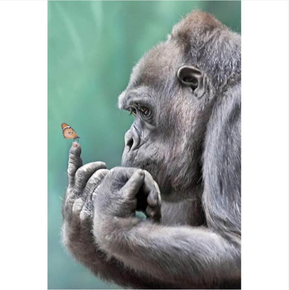 WHXJ DIY Diamant Peinture Singes Point De Croix Kits Couture Diamant Couture Mosaïque Animaux Diamant Broderie Orangutan Motif Décor À La Maison 40X50Cm