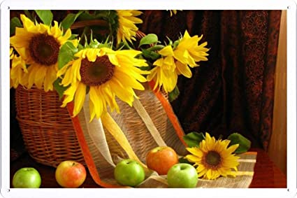 Flower Tin Sign Sunflowers Shopping Leaves Apples Table Curtains Still Life 20286 By Wallers Decor