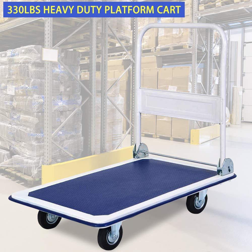 330 Lb Capacity Portable Folding Platform Cart Heavy Duty Deck Platform Truck Carts Trucks Material Handling