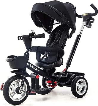 Moolo Triciclo para niños, Paseo en Buggy para bebés, Paseo en 3 Ruedas, Pedal de Paseo, Carrito, toldo Seguro, Bicicleta, manija, dirección Sencilla 1-6 (Color : Black) : Amazon.es: Juguetes y juegos