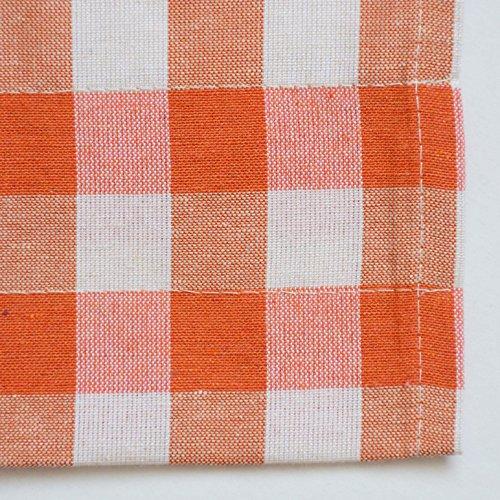 "Orange Gingham Check Kitchen Window Curtain Set: Plaid, Cotton Rich (2 Cafe/Tiers Panels: 29""W x 36""H Each)"