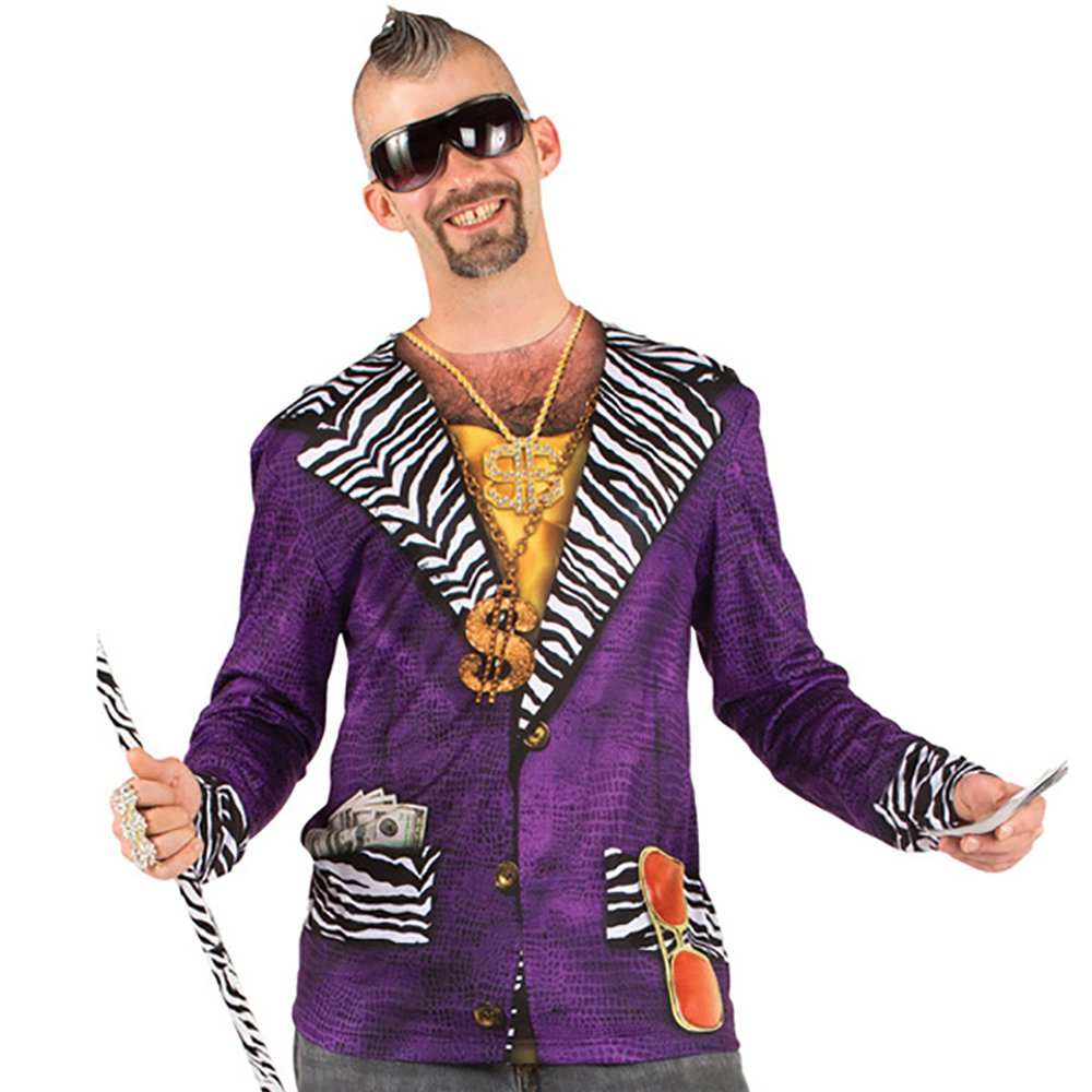 Big Pimpin Pimp Suit Men's Longsleeve Allover Print Costume T-Shirt