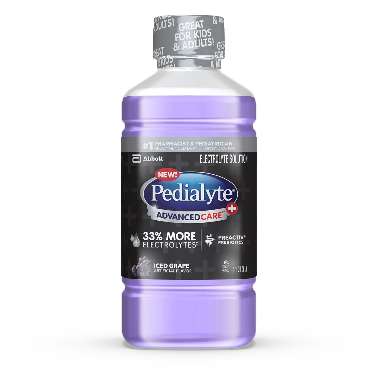 Pedialyte AdvancedCare+ Electrolyte Drink with 33% More Electrolytes and has PreActiv Prebiotics, Iced Grape, 1 Liter, 4 Count