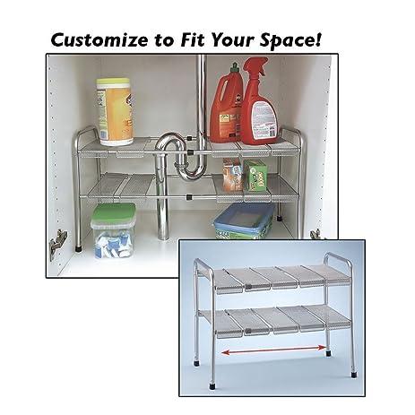 Amazon.com - ATB 2 Tier Expandable Adjustable Under Sink Shelf ...