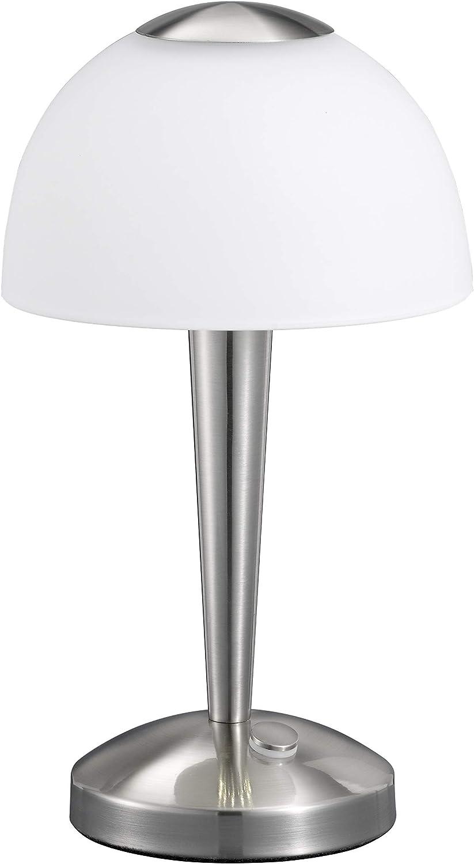 Trio 529990107 Serie 5299 - Sobremesa, bombilla incluida, SMD, LED, 5 W, 400 lm, 3000 K, 230 V, A+, IP20, alto 28 cm, diámetro 15,5 cm, metal, níquel mate