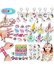 Qunan 60 Pack Unicorn Party Favors Supplies Unicorn Slap Bracelets Mask Rings Keychains Tattoos Rainbow Unicorn Gifts Toys Birthday Party Favors Goodie Bags Fillers