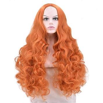 Desconocido Peluca Peluca de Moda de Halloween Naranja Medio Largo de Pelo Rizado Rose Partido de