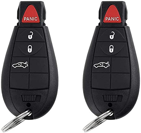 BESTHA 2 New Replacement 4 Button Keyless Entry Remote Key Fob Transmitter for M3N5WY783X Chrysler 300//Dodge Charger Challenger Magnum With Ignition key IYZ-C01C