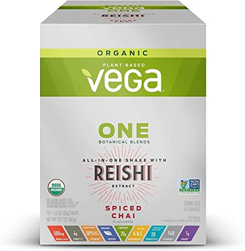 Vega One Organic Botanical Blends Spiced Chai with Reishi 10 Servings, 12.7 Oz – Plant Based Vegan Protein Powder, Non Dairy, Gluten Free, Non GMO