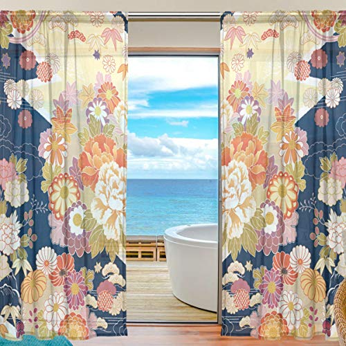 WellLee Voile Window Curtain, Japanese Classic Kimono Pattern Door Way Tulle Curtain Drapes Sheer Panels Living Room Bedroom Kitchen 55x78 inch, 2 PCS ()