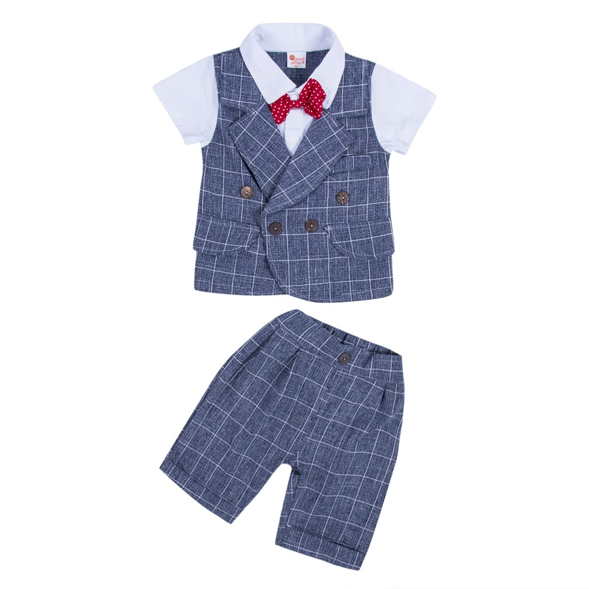 Wide.ling Infant Toddler Baby Tuxedos Clothes Gentleman Romper Jumpsuits Kids Boys Formal Suits Bodysuits Tuxedo Outfits Clothes+Berets Hat