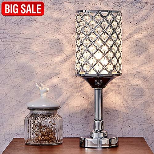 SOTTAE Fashionable Elegant Style Clear Crystal Lamp Living Room Bedroom Bedside Table Lamp, Chrome Finish ()