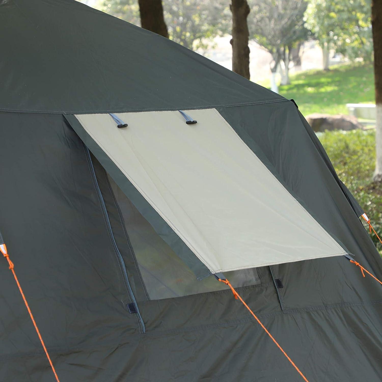 dim 2,25L x 4,45l x 1,75H m Fibre Verre Polyester Oxford Beige Vert Kaki 2 fen/êtres Outsunny Tente Pop up Montage instantan/é Chambre - 2 Portes Tente de Camping familiale 3-4 pers