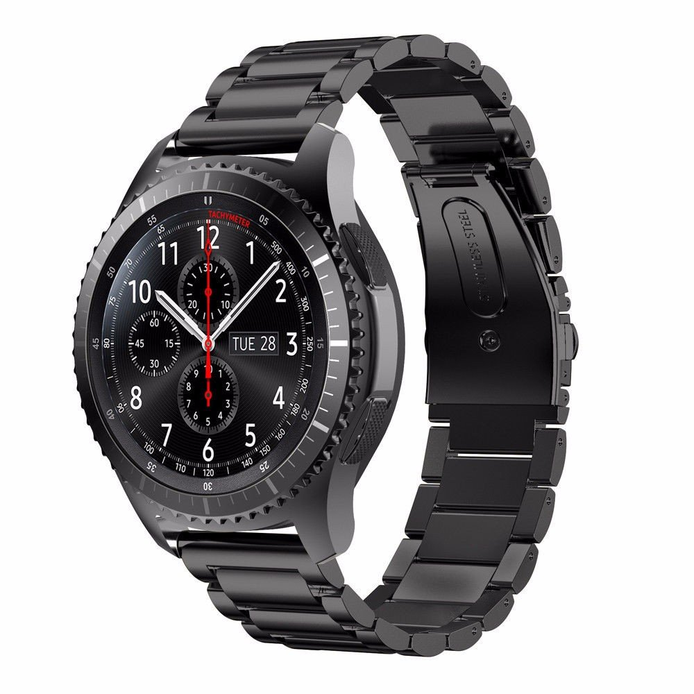 DAHASE Samsung Gear S3 Band, Stainless Steel 3 Beads Accurate Cutting Process Metal Replacement Bracelet Wristband Watch Band for Samsung Galaxy Gear S3 Frontier Classic Smart Watch -Black