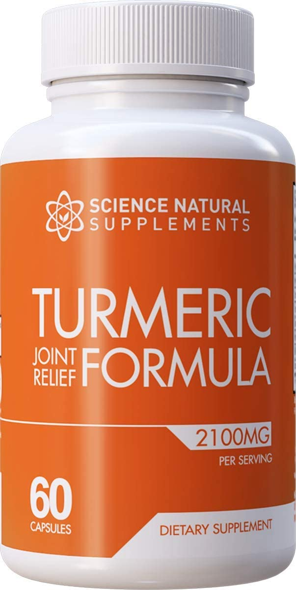 Science Natural Supplements Turmeric Joint Relief Supplement with Glucosamine Chondroitin – 60 Caps – with Curcuminoids and BioPerine for Faster Absorption – Anti Inflammatory Joint Support
