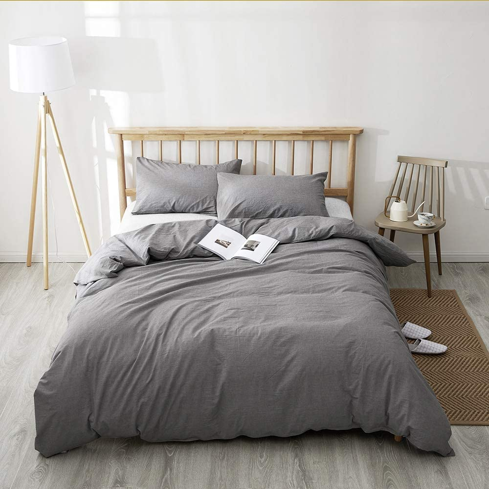 BFS HOME Washed Cotton King Duvet Cover, 3-Piece Duvet Cover Set, Super Soft and Chic Bedding Set(King, Light Gray)
