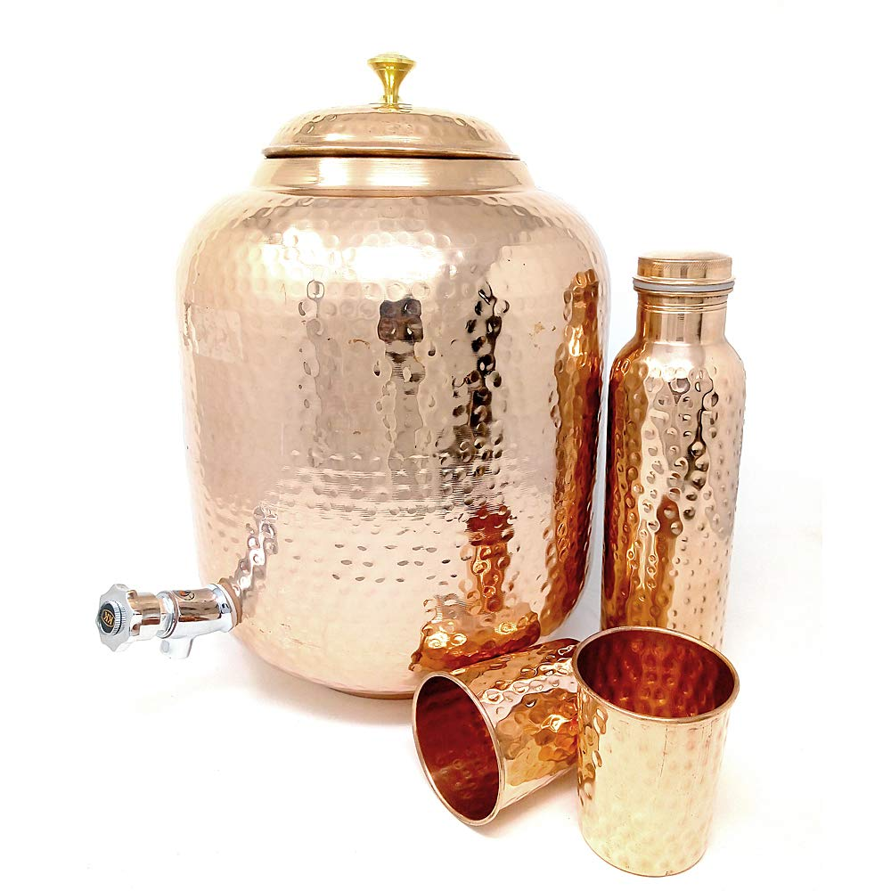 Dungri Hammered Copper Water Dispenser Stoarge Pot Matka 12 Ltr (405 Ounce) With 2 Copper Tumbler Glass & 1 Copper Bottle For Ayurvedic Health Benefits