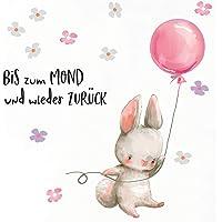 Little Deco Meisjes muursticker kinderkamer haas met roze ballon spreuk tot aan de maan muursticker bloemen babykamer…