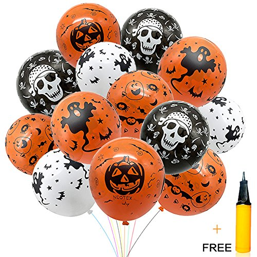 Halloween Decorations Balloon 100 pcs 12 Inches Party Balloons Skeleton Specter Pumpkin Balloons Orange Latex with a Hand Held Air Inflator for Halloween Decorations
