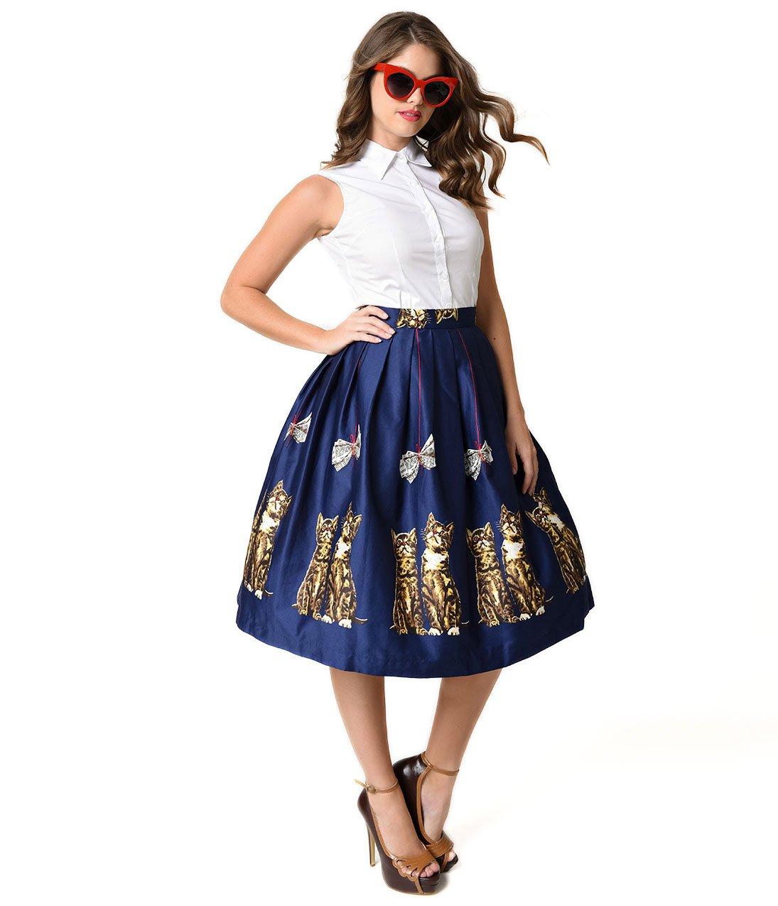 1950s Style Navy Blue Kitten Print High Waist Corinna Swing Skirt