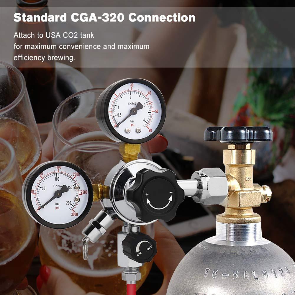 FERRODAY Dual Gauge CO2 Draft Beer Regulator Dual Stage Pressure Regulator CGA-320 CO2 Tank Beer Kegerator Regulator with Relief Valve Beer Keg Pressure Regulator for Homebrew 0-60 PSI 0-3000PSI by Ferroday (Image #6)