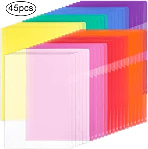 EOOUT 45pcs Plastic Clear Document Folders Project Pockets, for Letter Size and A4, 8 Assorted Colors, for School Office