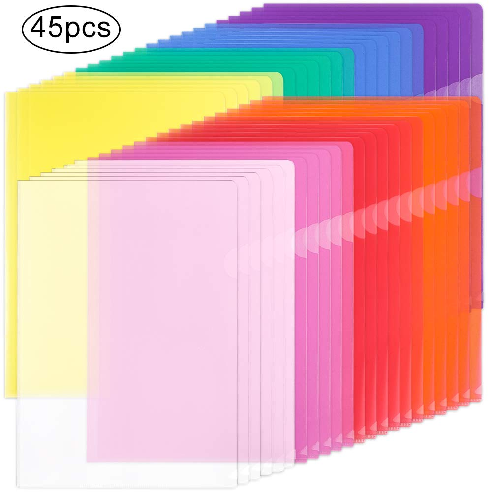 EOOUT 45pcs Plastic Clear Document Folders Project Pockets, for Letter Size and A4, 8 Assorted Colors by EOOUT