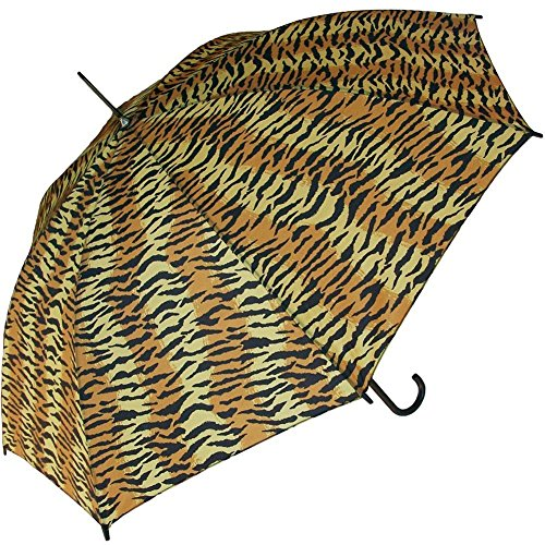 European Tiger (RainStoppers Auto Open European Hook Handle Tiger Print Umbrella, 48-Inch)