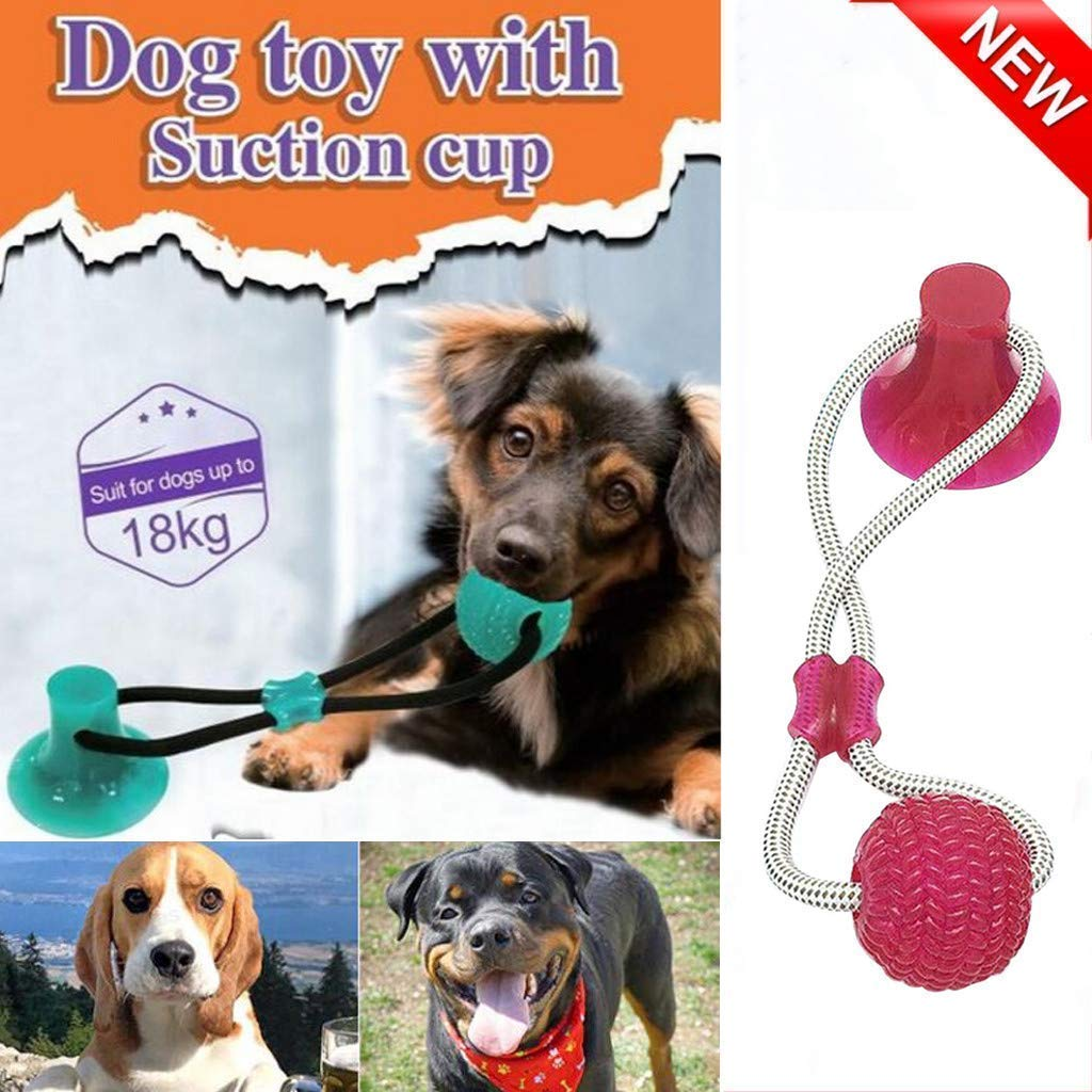 GB4 Interactive Dog Chewing Ball with Suction Cup, Dog Bite Molar Stick Biting Resistance Training Pet Agility Toy, Multifunction Pet Molar Toy Cleaning Teeth Safe Elasticity for Dog Puppy (Red) by GB4