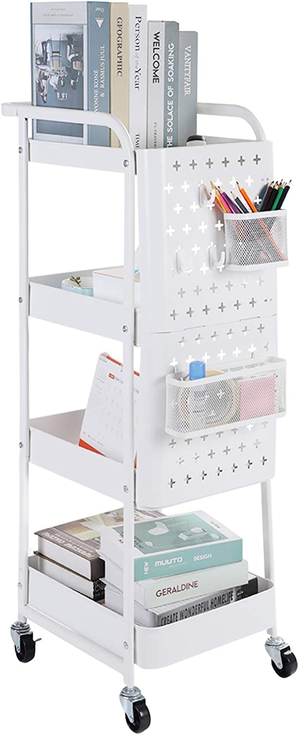 4-Tier Utility Cart, Rolling Storage Cart Shelf Rack with Removable Hooks and Basket Organizer Cart for Kitchen Office Bedroom Bathroom