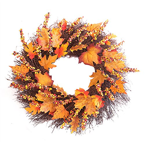 (Adeeing 20-Inch Maple Wreath for Automn Thanksgiving, Large)
