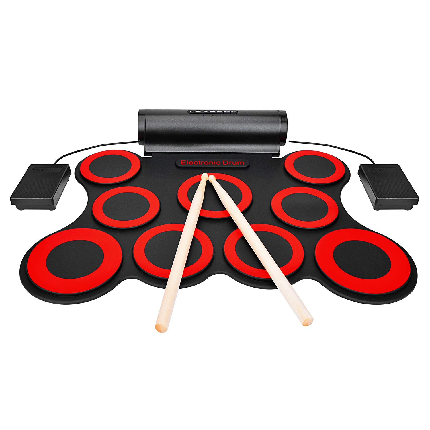 9-button Electronic Drum Set With Headphone Jack Built-in Speaker and Battery Drum Sticks Pedals Christmas Holiday Birthday Gift